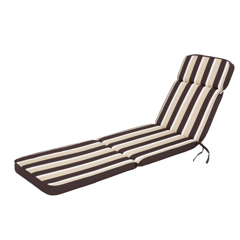 Poduszka na leżak Iris - Brąz z beżowymi pasami