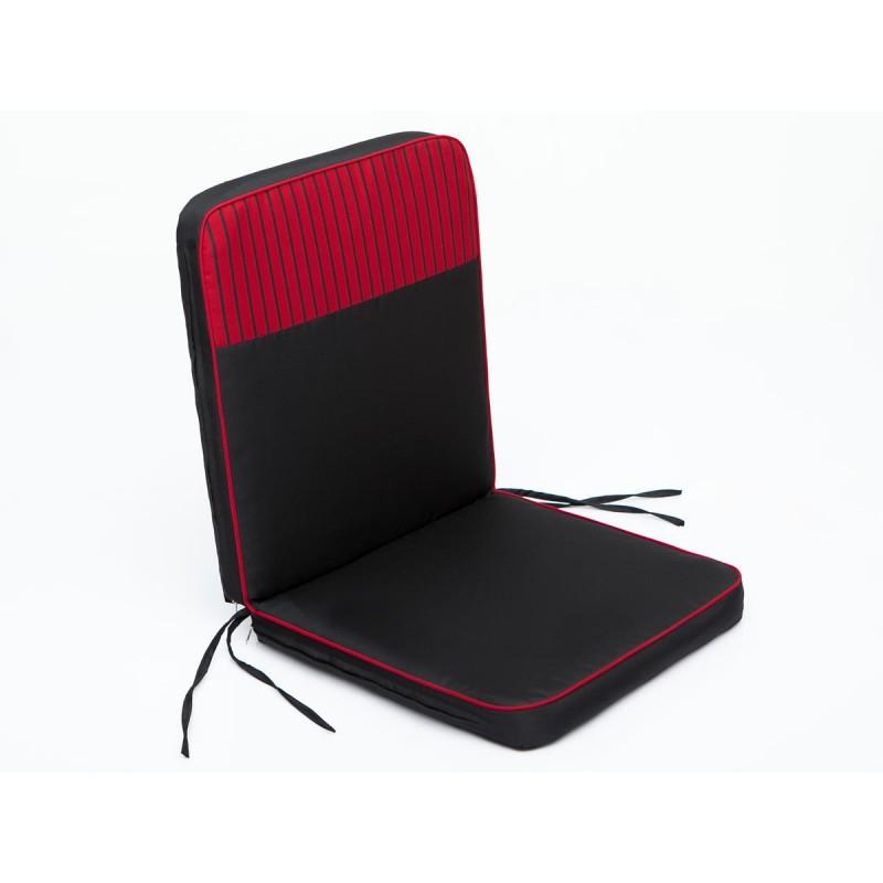 Poduszka Bangkok - Czarny z czerwonymi paskami - 97x47 cm