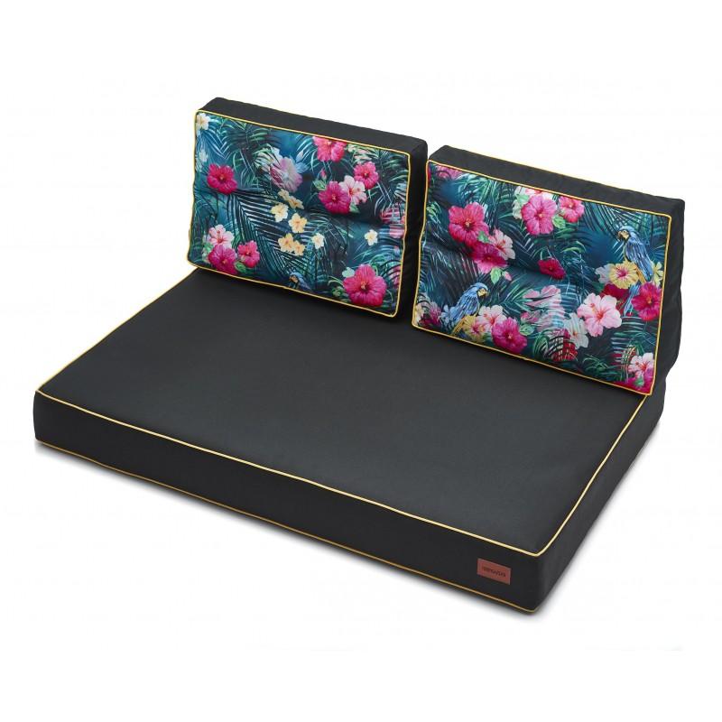 Zestaw Poduch Karol - Czarny z kwiatami - 120x82 cm - 1+2